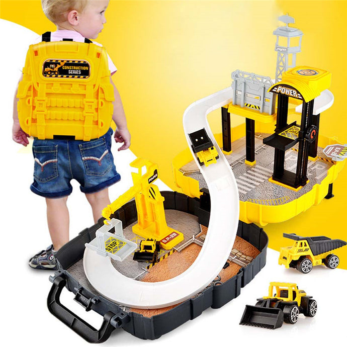 Magical Car Set Educational Toys Mobile Garage Parking Toys Figure Race Toy Backpack In Box Children Boys Garage for Cars Toys