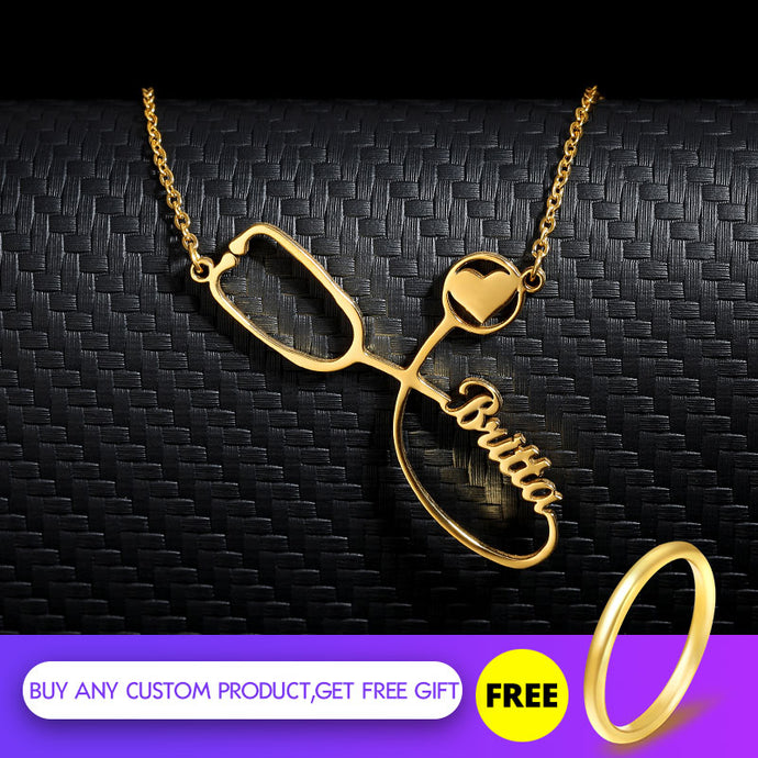 Custom Stethoscope Name Necklace Stainless Steel Gold Chain Choker Personalized Stethoscope Necklaces For Women Men Bff Jewelry