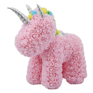 Valentines Gift Rabbit Dog Unicorn Bear Rose with LED Gift Box Soap Foam Flower Artificial New Year Gifts for Women