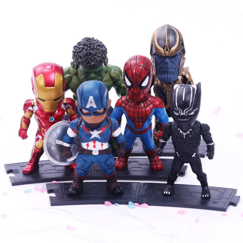 6pcs/set Marvel Avengers Infinity War Thanos Ironman Spiderman Captain American Hulk Black Panther Figure Model Toys