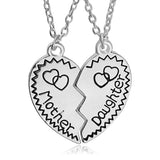 Mother Daughter Necklace Broken Heart Two Parts Silver Plated Heart Pendant Necklace Fashion Jewelry Family Member Gift Mom