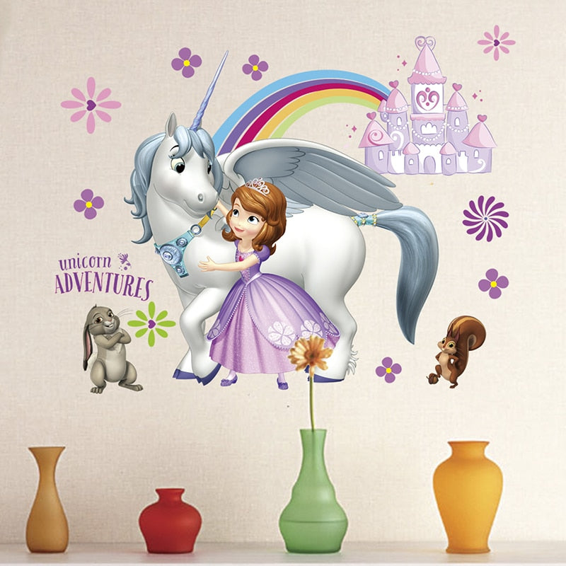 Sofia Princess Unicorn Adventures PVC Wall Stickers For Home Decor Kids Rooms Girls Bedrooms Mural Art Decoration