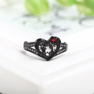 Black Heart Rings/Necklaces For Women Love Red Ring/Necklaces Crystal Jack and Sally