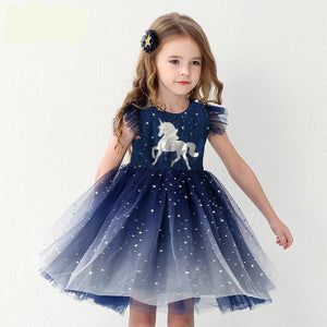 Princess Dress Girls Birthday Party School Casual Unicorn Dresses