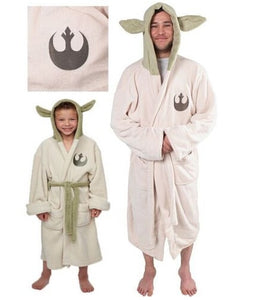Star Wars Yoda Jedi Ears Fleece Bathrobe Hooded BathRobe Cosplay Costume Adult Kids Child New