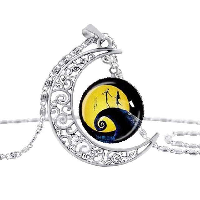 New Style Jewelry The Nightmare Before Christmas Vintage Necklace Hollow Moon Glass Chain Necklace Free Shipping N-M18