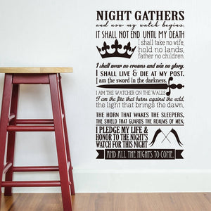 Night's Watch Oath Vinyl Wall Decal Sticker