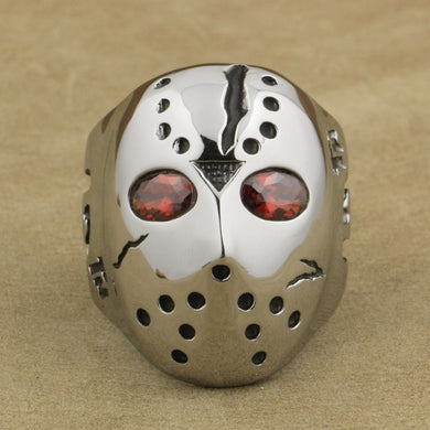 316L Stainless Steel Halloween Jason Mask Hockey Red CZ Eyes Mens Ring