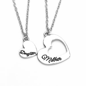 Statement Heart Mother Daughter Necklaces Hollow Splicing Necklace polishing letter Jewelry mother's day Gift For Mom/Daughter