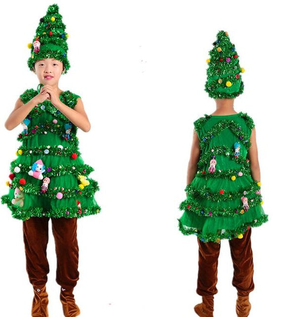 Christmas Tree Costume.Children Christmas Tree Cosplay Costumes Green Trees Adult Party Wear Shrubs Halloween Costume For Kids