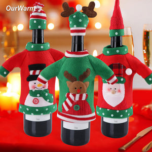 New Year Decoration Red Wine Bottle Cover Office Ugly Sweater Party Products Gifts Home Xmas Party Decor Supplies