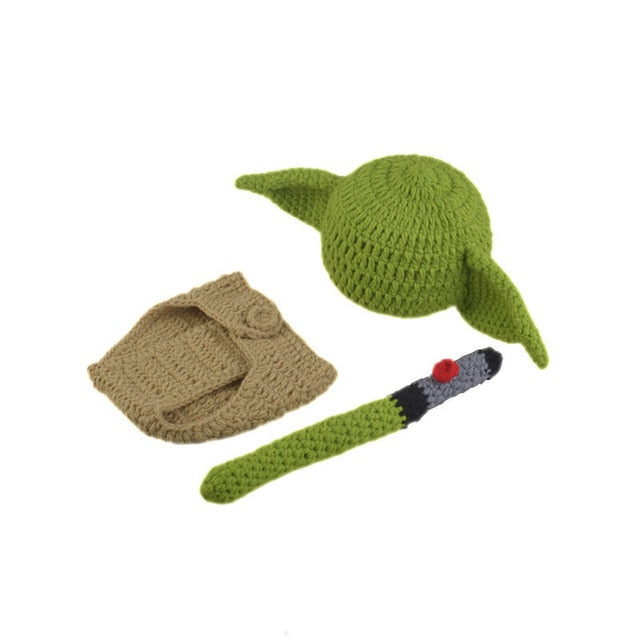 Hot Crochet Baby Yoda Hat Beanie Newborn Boy Cartoon Costume, Photography Accessories