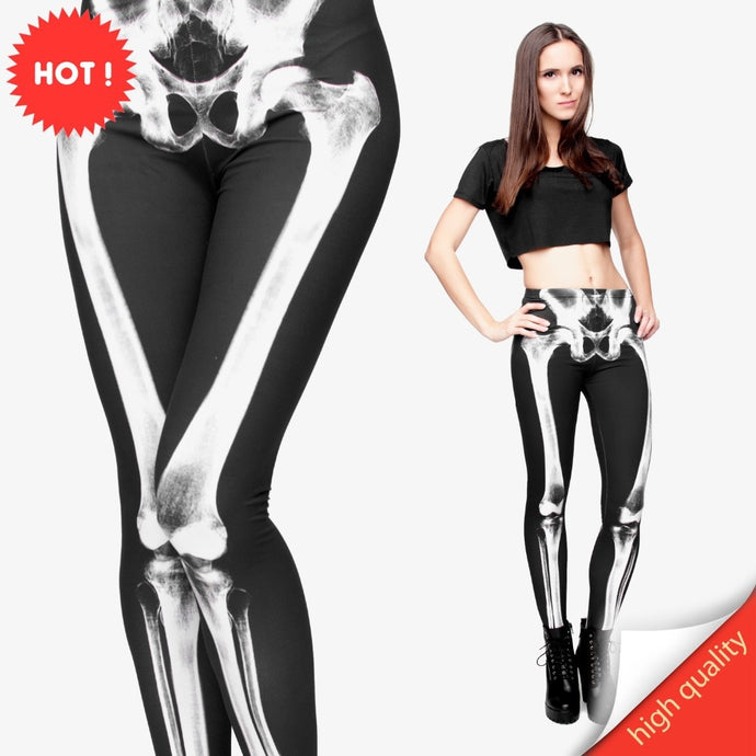 3D Printed Retro Bones Black Skeleton Sexy Women Casual Punk Rock