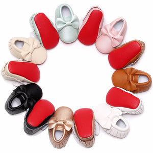 Lovely red soled baby moccasin first walkers big bow baby girls shoes newborn infant shoes for toddler 0-2T