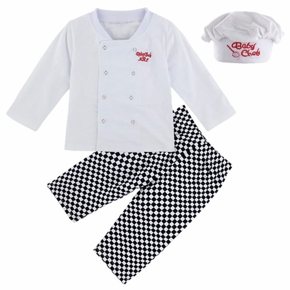 Baby Chef Costume Infant Halloween Cosplay Clothing Set T-shirt+Pants+Hat Clothes New Year Carnival White Costume Suit For babies
