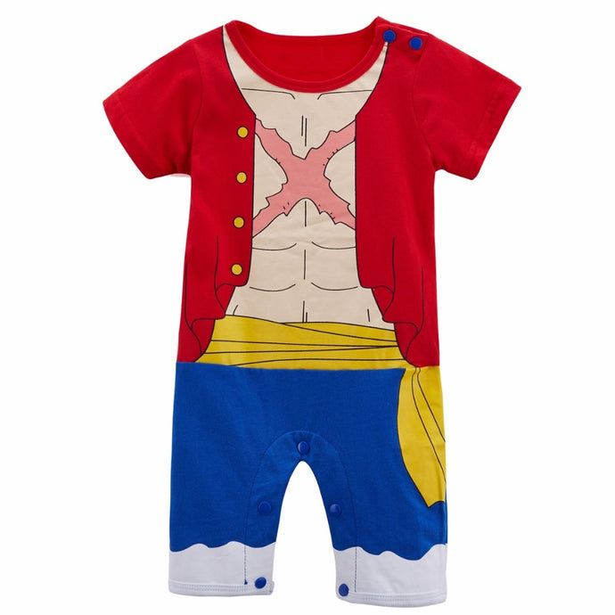 Baby Boys Luffy Costume Romper Infant Cosplay Jumpsuit Toddler One Piece Funny Party Playsuit New Year Costume For Babies