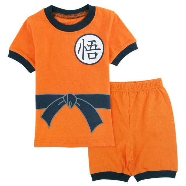 Kids Baby Boys Cartoon Goku Costume Clothing Short Sleeve Sleepwear Pajamas Children Pajamas Set  Summer Homewear Pyjamas