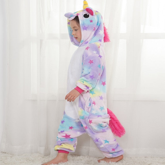 Children Pajamas Unicorn Stars Winter Sleepwear licorne Coral Fleece Warm