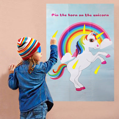 Unicorn Party Game Pin The Horn On The Unicorn Paper Wall Stickers Home Decor Unicorn Birthday Party Supplies