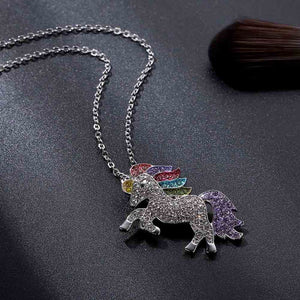 Trendy For Women Baby Gifts for High Quality Unicorn Animal Necklace Girls Rainbow Necklaces & Pendants