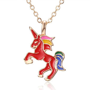 HORSE Necklace For Girls Children Kids Enamel Cartoon Horse jewelry accessories Women Animal Necklace Pendant Unicorn Party