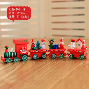 New Christmas Train Painted Wood With Santa/Bear Xmas Kid Toys Gift