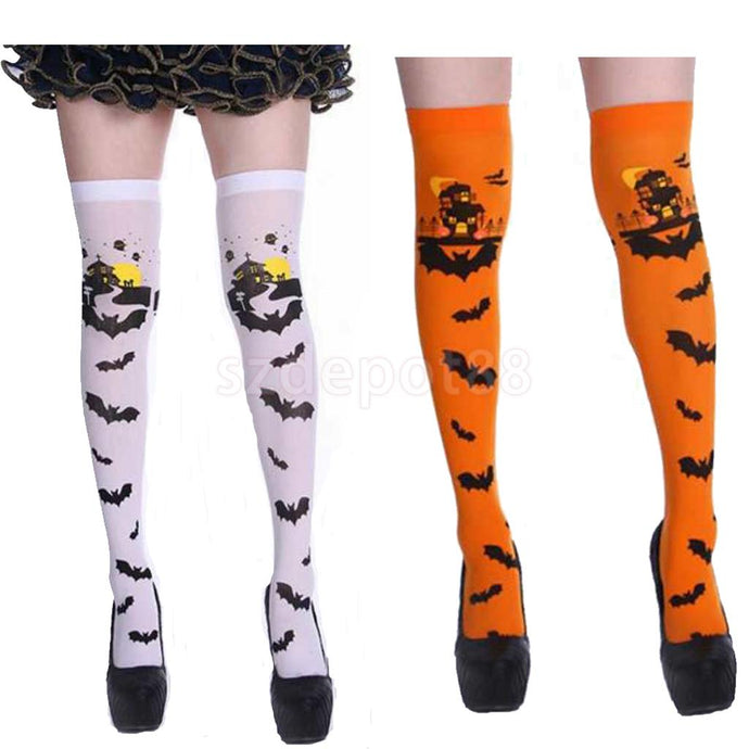 Halloween Carnival Scary Castle Bat Thigh High Stockings Woman Girls Hold Up Stocking Over Knee Socks Fancy Dress Orange/White