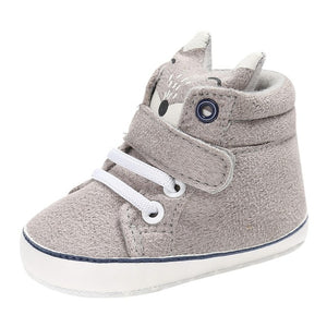 Baby Autumn Shoes Kid Boy Girl Fox Head Lace Cotton Cloth First Walker Anti-slip Soft Sole Toddler Sneaker 1 Pair