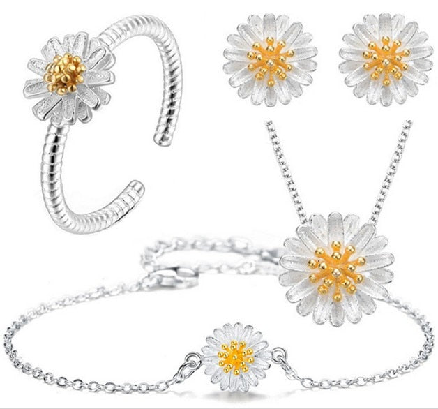 New arrival silver plated Daisy jewelry sets Necklace/Earrings/Ring/Bracelet valentine/wedding jewelry sets for women