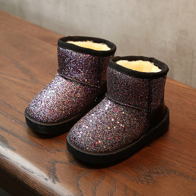New Arrival 2018 Bling Winter Shoes for Girls Plush Toddler Boy Boots Kids