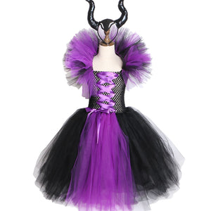 Maleficent Evil Queen Girls Tutu Dress with Horns Halloween Cosplay Witch Costume for Girls Kids Party Dress Children Clothing