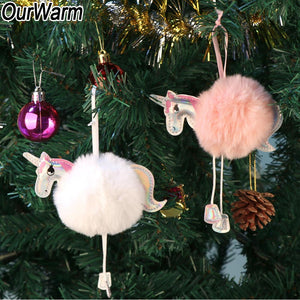 christmas tree decorations fluffy unicorns ornaments fur ball pom pom horse