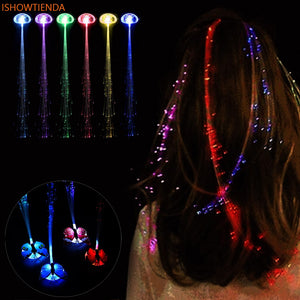 Girl's Accessories Novelty Led Flashing Hair Braid Clip Hairpin Glowing Light Wigs Butterfly Hair Ornament Children Girls Toys Christmas Party