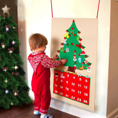 Date 1-24 DIY Felt Christmas Advent Calendar Christmas Tree Countdown Calendar with Pockets New Year Hanging Ornaments