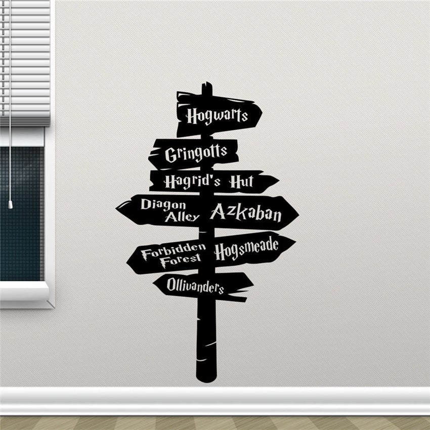Harry Potter Wall Decal Hogwarts Road Sign Vinyl Sticker Home Movie Decor Art Decor Mural Art Decor Home Decor Room Decals D272