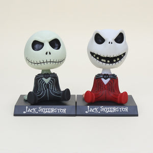 10cm Jack Skellington Tim Burton The Nightmare Before Christmas Jack Bobble Head PVC Figure Action Toys Collection Dolls Gifts