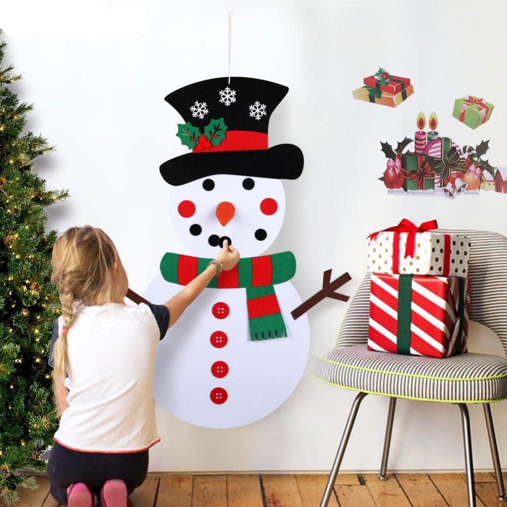 Hanging Christmas Decorations Diy.Christmas Gifts For 2018 Diy Felt Snowman Set Christmas Decorations For Kids Wall Hanging