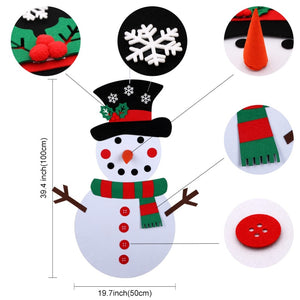 Christmas Gifts for 2018 DIY Felt Snowman Set Christmas Decorations for Kids Wall Hanging
