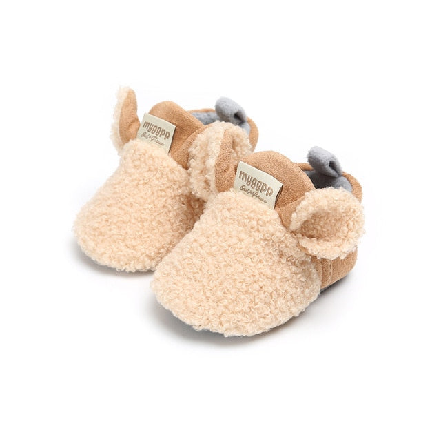 New Toddler Newborn Baby Crawling Shoes Boy Girl Lamb Slippers Prewalker Trainers Fur Winter Animal Ears First Walker