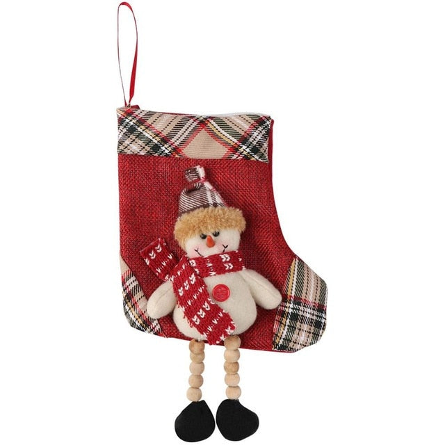 Large Christmas Stocking Santa Claus Sock Plaid Burlap Gift Holder Christmas Tree Decoration New Year Gift Candy Bags