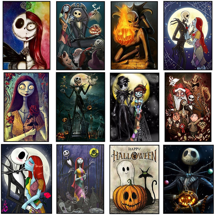 DIY 5d Diamond Painting Nightmare Before Christmas Full Square Drill Crystal Mosaic Picture Halloween Diamond Embroidery