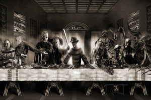 "The Last Supper Freddy vs Jason Horror Movie Funny Art Silk poster print room wall Decor 24""x36"""