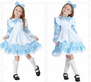 Halloween Deluxe Girl's Alice in Wonderland Costume Kid Storybook Lolita Maid Book Week Children's Day Outfit Fancy Dress