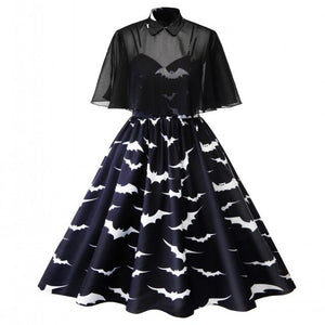 Halloween 4XL 3XL Plus Size Bat Print Dress Women Punk Party Dresses Bowknot Self Gothic Dress Clothing Swing Vestidos
