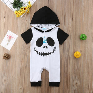 Newborn Baby Boy Girl Halloween Costume Ghost Hooded Romper Jumpsuit Black Bebe Boys Girls Rompers Clothes Outfits