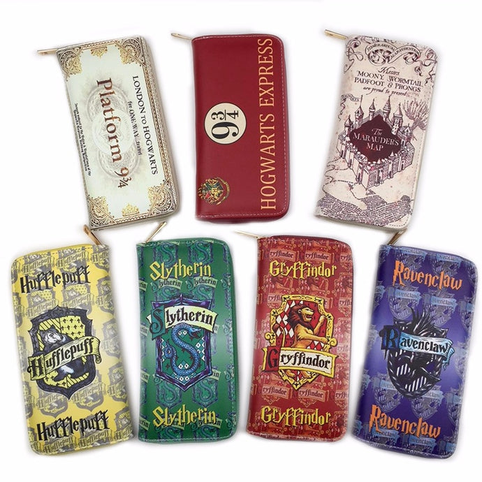 Hot 7 Patterns Harry Potter Long Wallets Around-zip Coin Pocket Purse Cell Phone Pocket Billfold Action Figure Toy Gift
