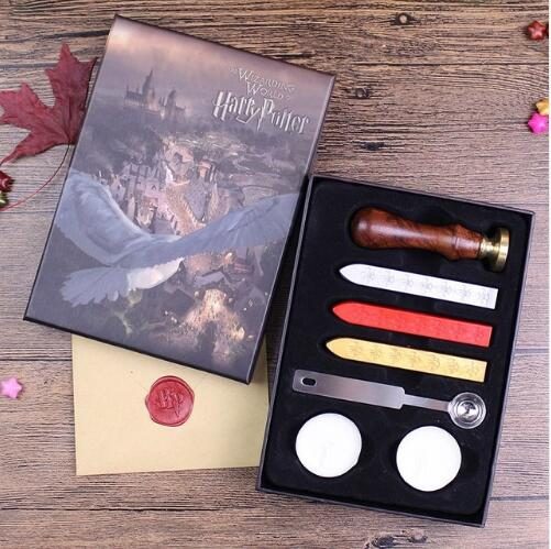 Feather Pen With Hogwarts School Admission Letter have seal wax stamp set for choose for Harry Potter Cosplay