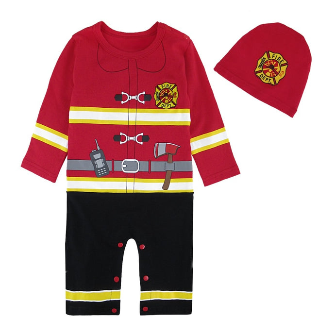 Baby Boys Halloween Costume Infant Newborn Fireman Romper with Hat Toddler Fire Fighter Cosplay Jumpsuit Outfit Ropa Bebe