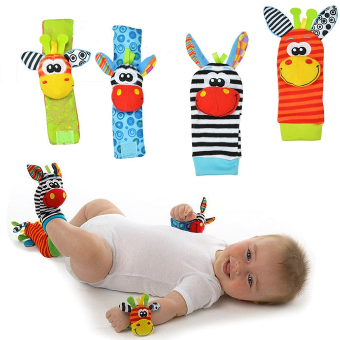 2pcs waist - 2pcs socks Infant Baby Kids Socks rattle toys Wrist Rattle and Foot Socks 0-24 Months