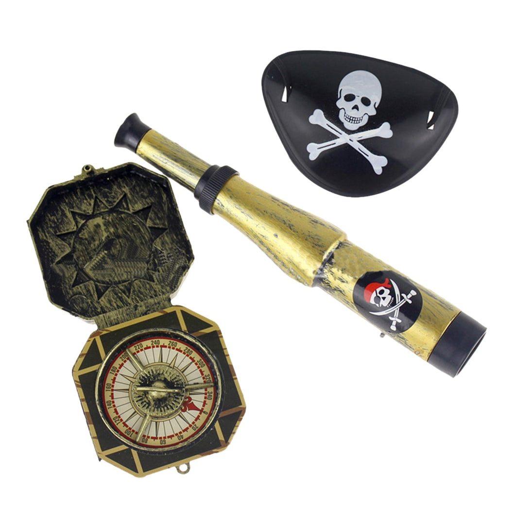 3Pcs/Lot Children Pirate Patch with Skull Dress Up Prop Pirate Toy Set Halloween Theme Party Holiday DIY Decorations Supplies